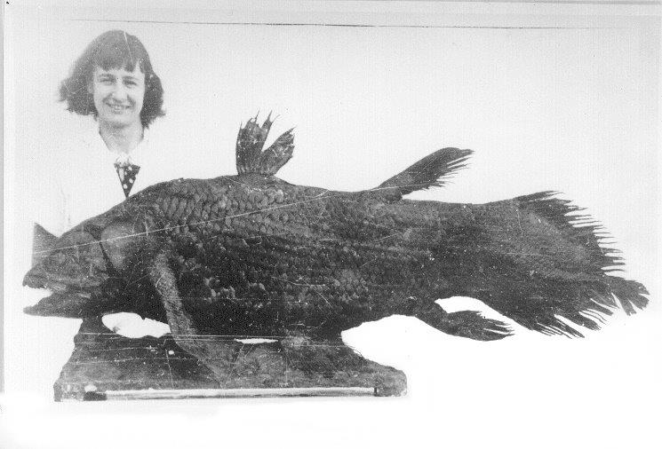 Marjorie Courtenay-Latimer and coelacanth after its discovery