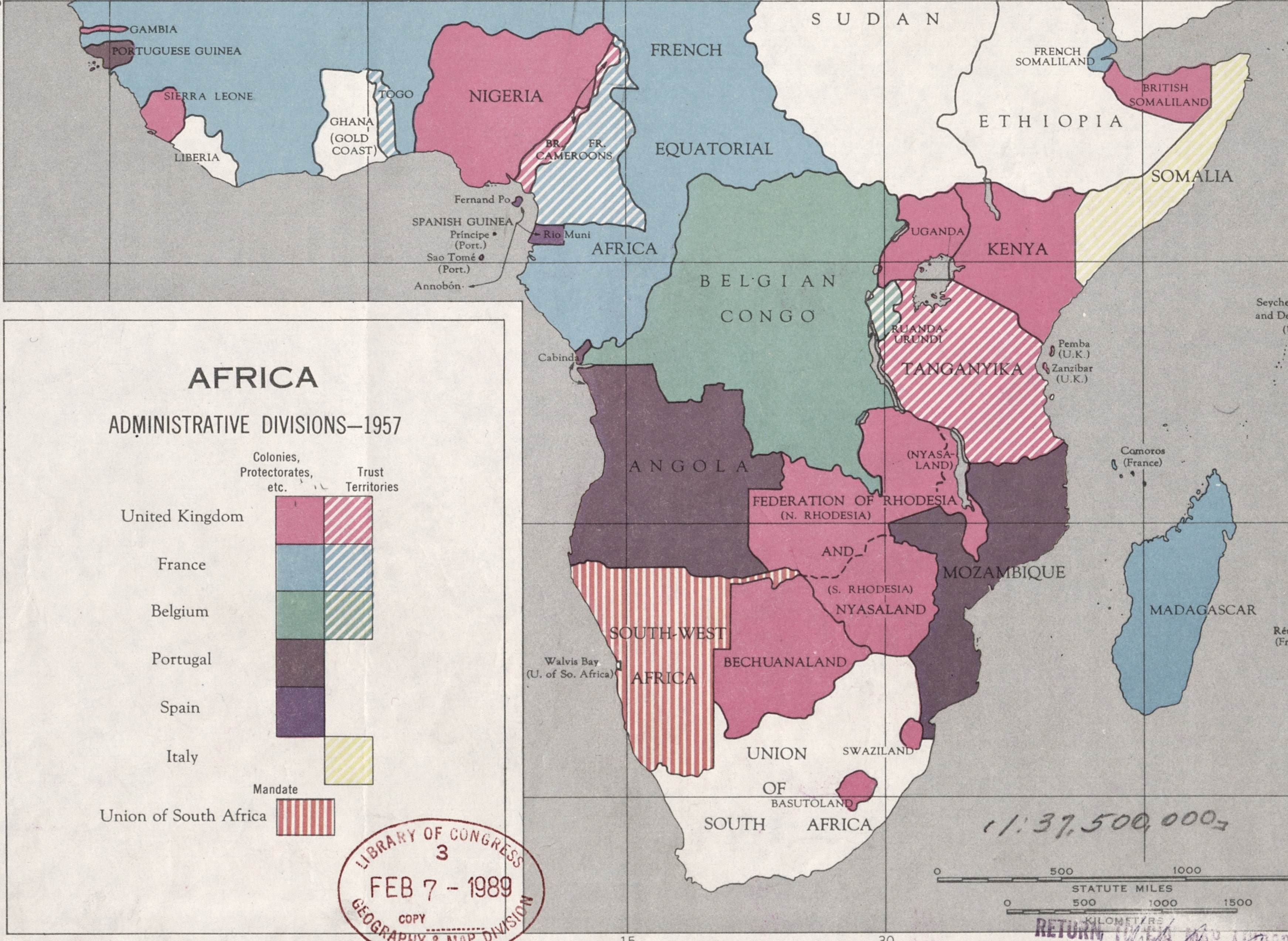 Central and Southern Africa, administrative divisions, 1957.