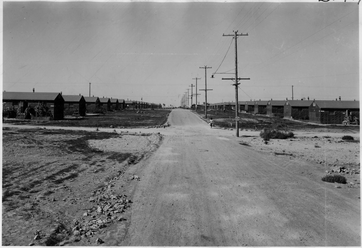 Looking down a street at the Minidoka internment camp