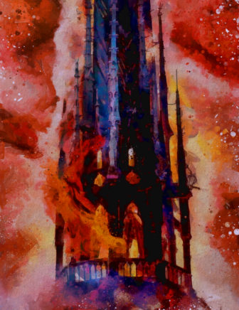 Painting of the Notre Dame cathedral fire by Paul Loboda.