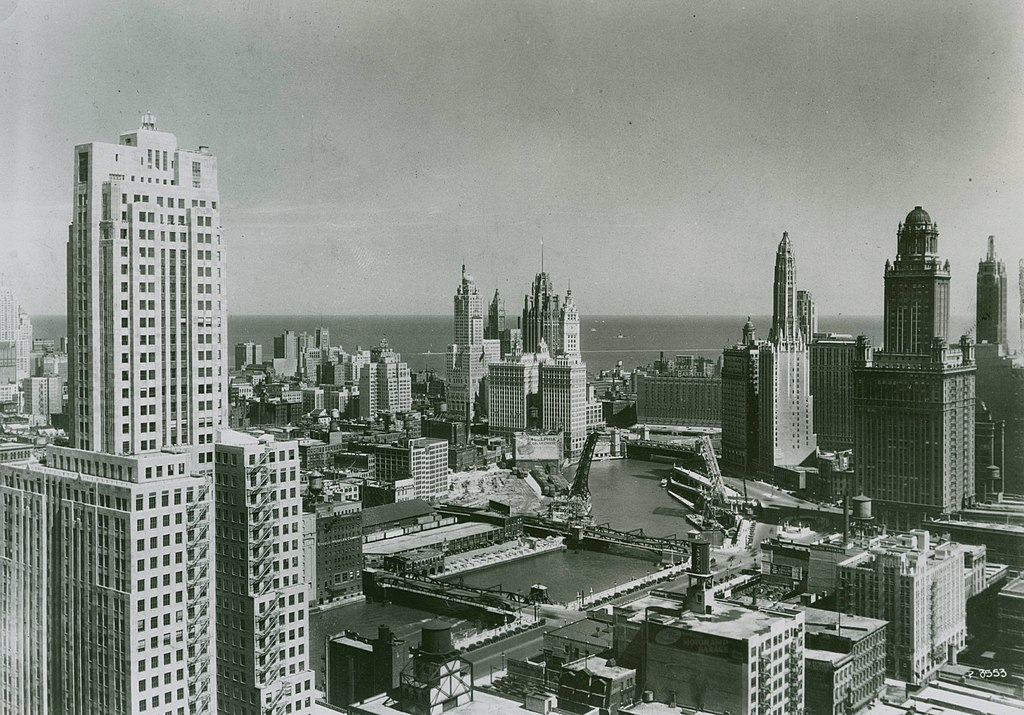 Chicago skyline looking toward Lake Michigan, 1940s