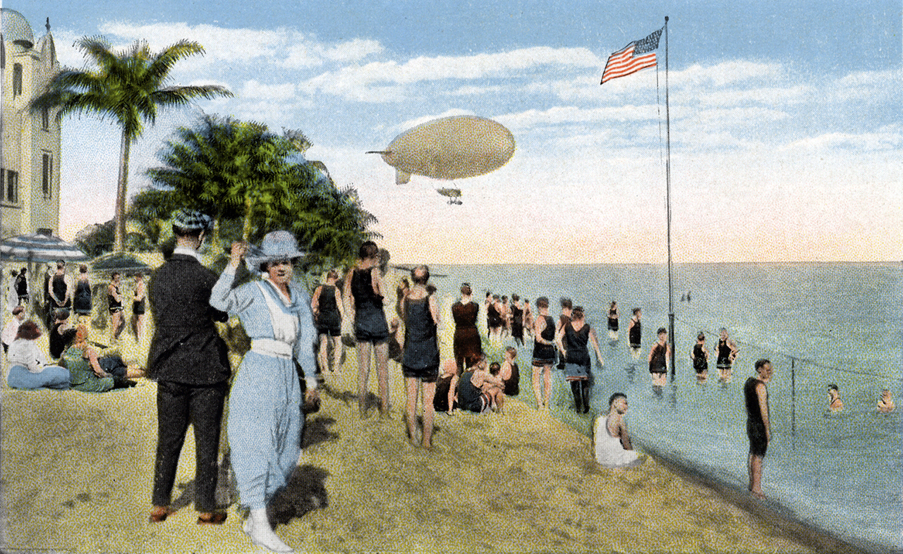 Postcard depicting people hanging out on a beach in South Florida, c. 1900.