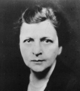 a black and white photo of a middle-aged white woman